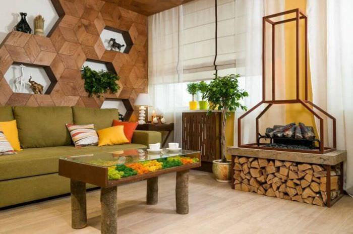 Дизайн квартиры с дровяным камином
