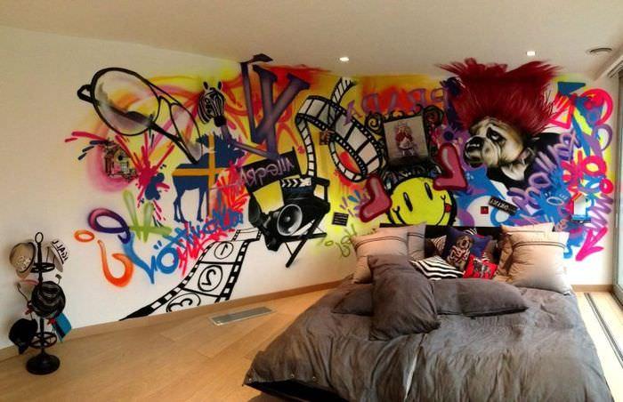Интерьер молодежной спальни в стиле китч