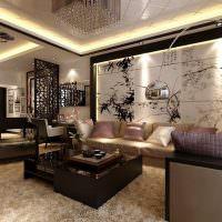 Современная гостиная с элементами восточного стиля