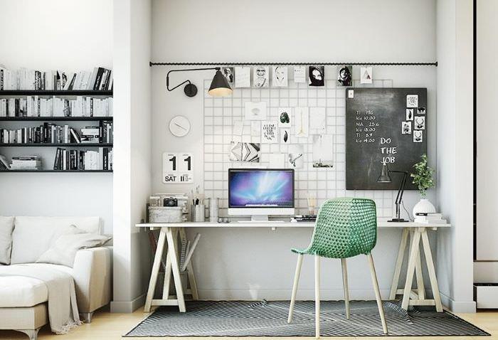 Интерьер домашнего кабинета в скандинавском стиле