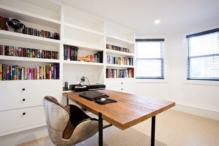 Интерьер домашнего кабинета в стиле минимализма