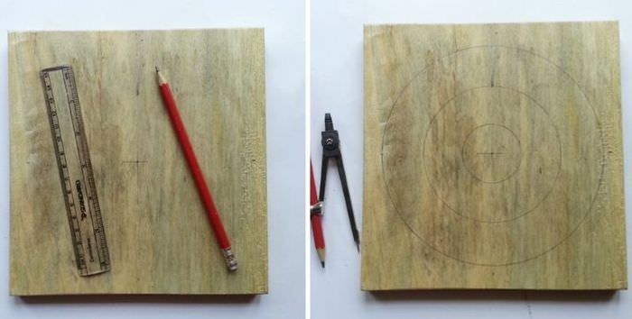 Рисование шаблона на дощечки для создания картины из ниток