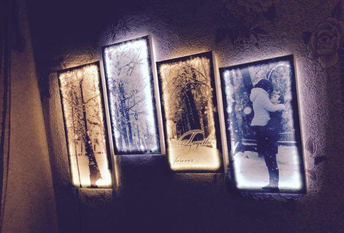 Картины с подсветкой для украшения интерьера своими руками