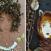 Примеры создания портретов из подручных материалов