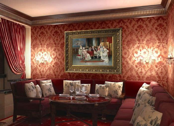 Диванная группа в классической гостиной
