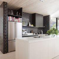 Черный кирпич в оформлении кухни