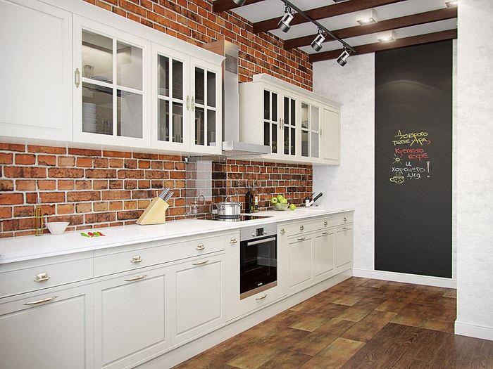 кухни в стиле лофт с кирпичом фото третий куда