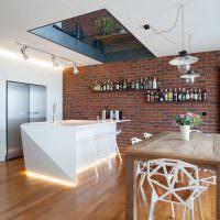Дизайн кухни с окном в потолке