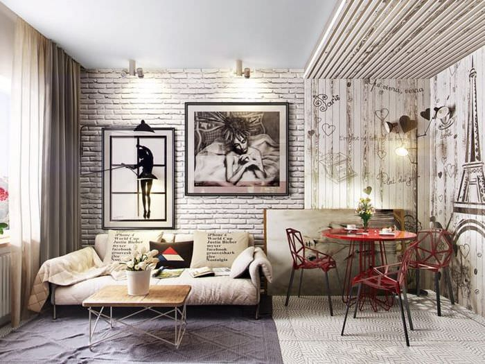 Дизайн современной гостиной с кирпичной стеной