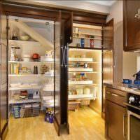 Современная кухня с удобной кладовкой