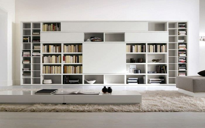 Длинный шкаф для книг белого цвета
