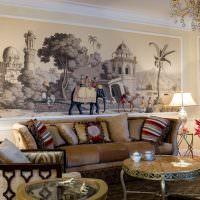 Фотообои с индийскими мотивами над диваном в гостиной