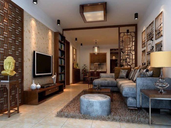 Дизайн вытянутой гостиной в китайском стиле