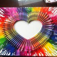 Красивое сердечко из цветных карандашей