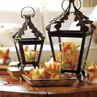 Декорирование свечей осенними листьями
