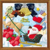 Новогодняя картина из лоскутов ткани