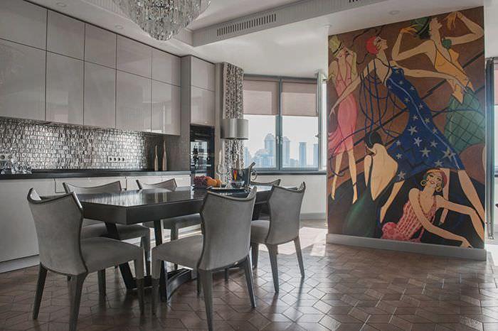 Интерьер кухни в стиле арт-деко в серых тонах
