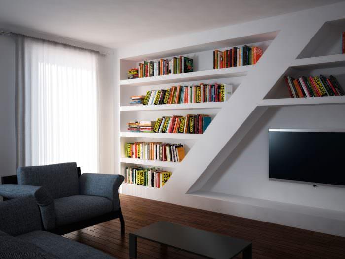 Хранения книг в нише с полками