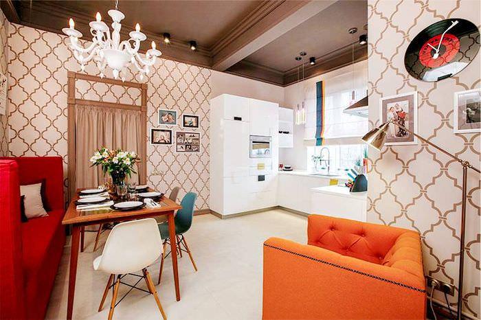 Дизайн кухни-гостиной площадью в 18 кв метров с П-образной планировкой