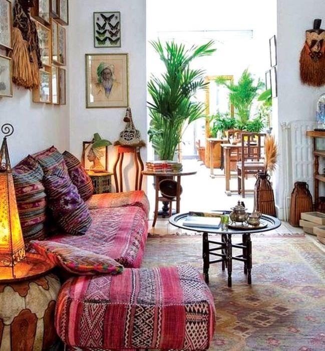 Декорирование гостиной живыми растениями