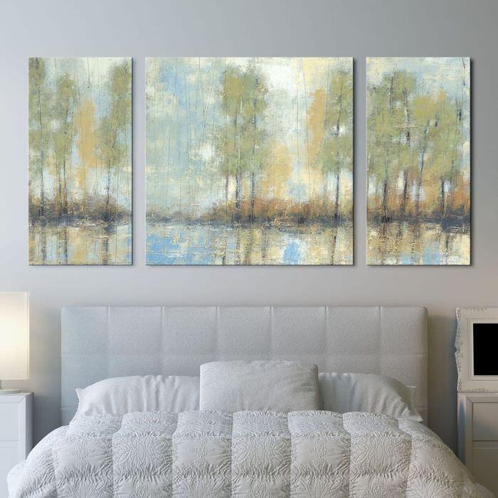 Модульные картины с изображением пейзажа в пастельных тонах