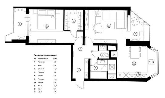 План двухкомнатной квартиры в доме 44т с расстановкой мебели