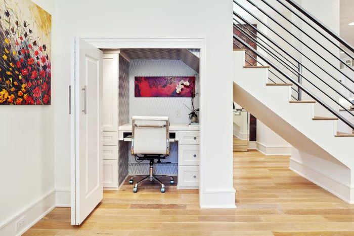 Организация рабочего кабинета в кладовке под лестницей