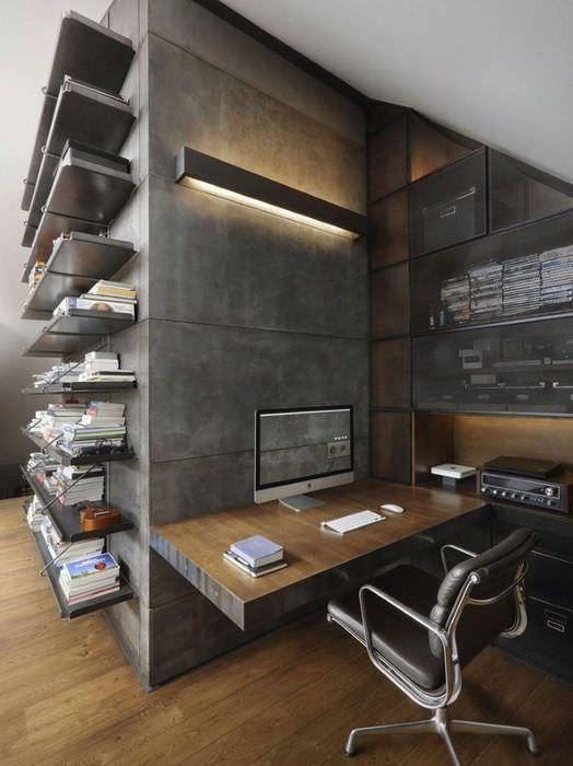 Дизайн рабочего кабинета в индустриальном стиле