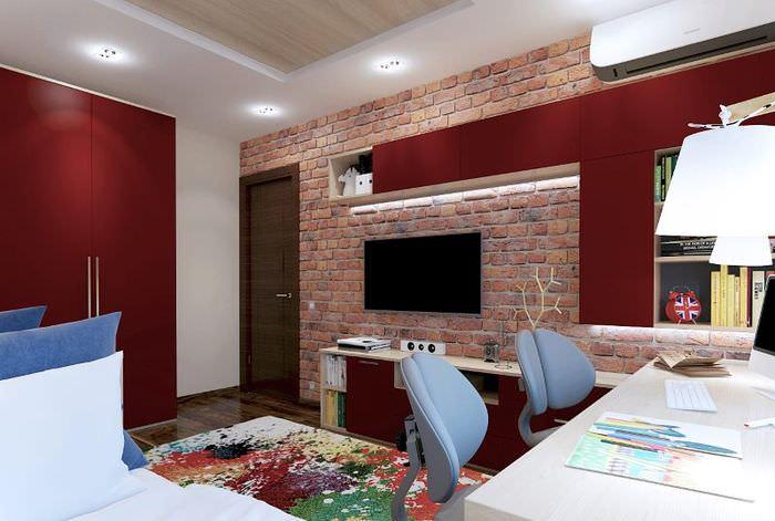 Интерьер детской комнаты с кирпичной стеной