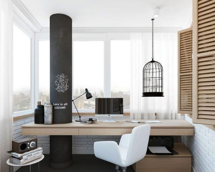 Дизайн рабочего места на балконе городской квартиры