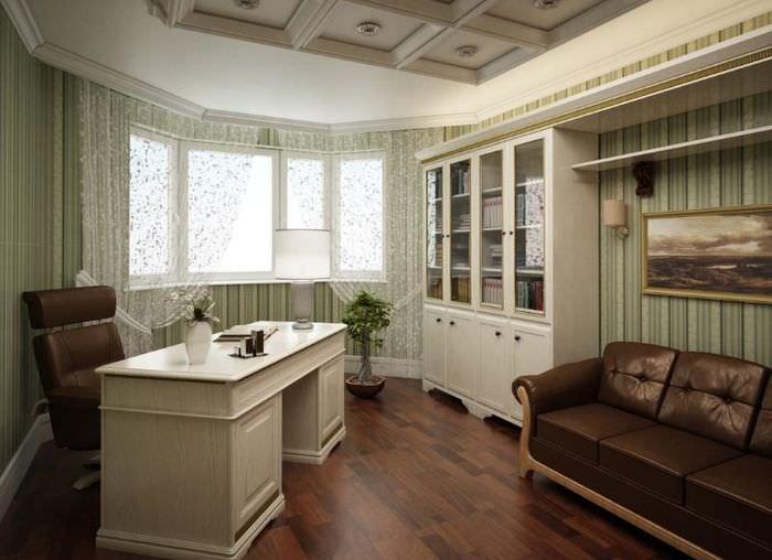 Дизайн домашнего рабочего кабинета в стиле классики