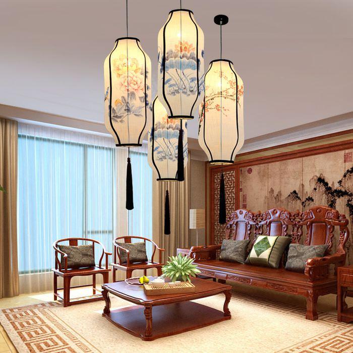 Подвесные светильники на потолке в китайской гостиной