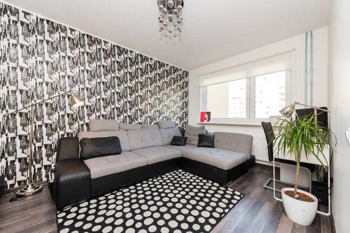 Интерьер гостиной в стиле хай-тек с серым диваном