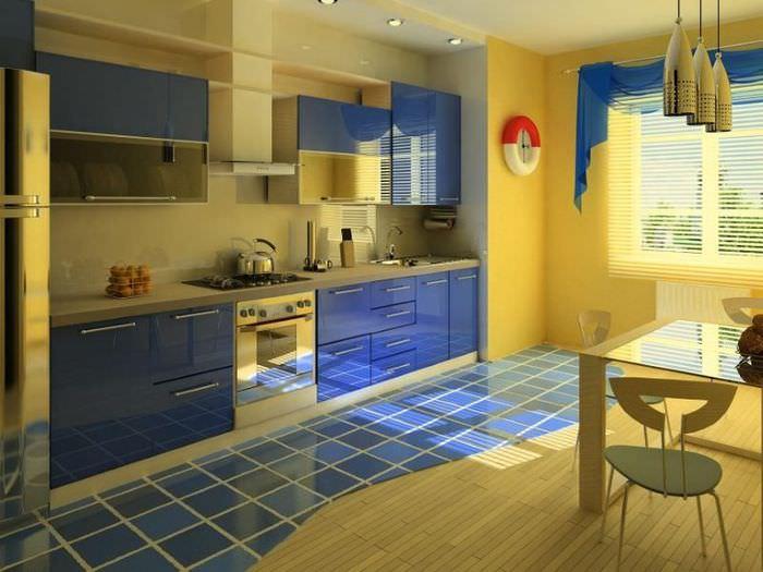 Кухонный гарнитур с синими фасадами