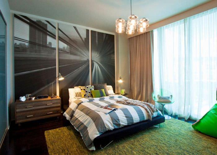 Дизайн спальни с модульной картиной