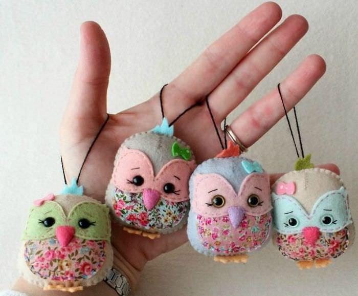 Красивые совушки своими руками из кусков фетра