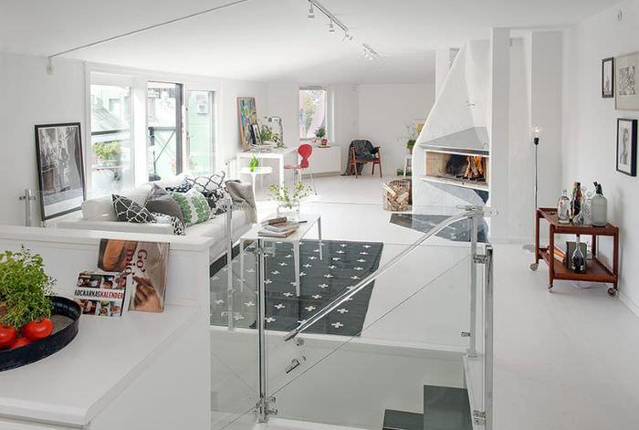 Интерьер второго уровня квартиры в скандинавском стиле
