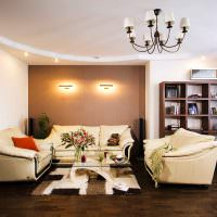 Дизайн гостиной с тремя диванами