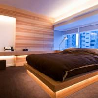 Подсветка периметра кровати в спальне супругов