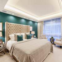 Кремовые шторы в дизайне спальное комнаты
