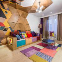 Яркий интерьер современной гостиной