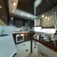 Двухуровневый потолок в кухне панельного дома