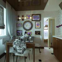 Декорирование картинами стены кухни