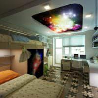 Звездное небо на потолке детской комнаты