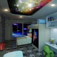 Фотообои Звездное небо в интерьере детской комнаты
