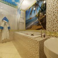 Керамическое панно в интерьере ванной комнаты