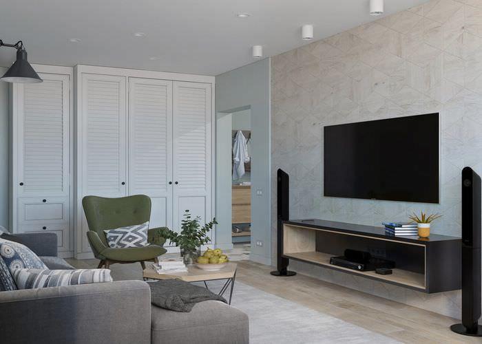 Современный интерьер гостиной в панельном доме