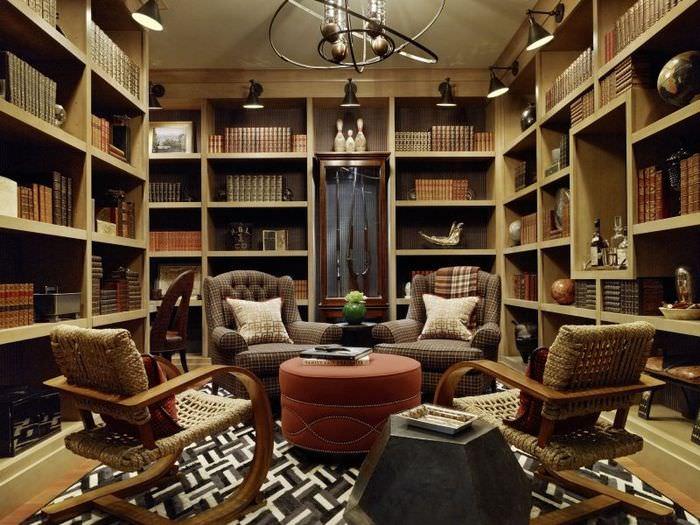 Уютный дизайн домашней библиотеки