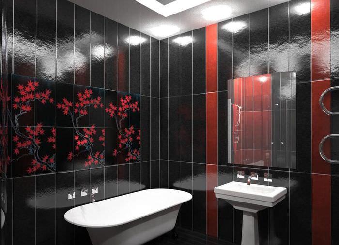 Черный кафель на стене ванной в китайском стиле