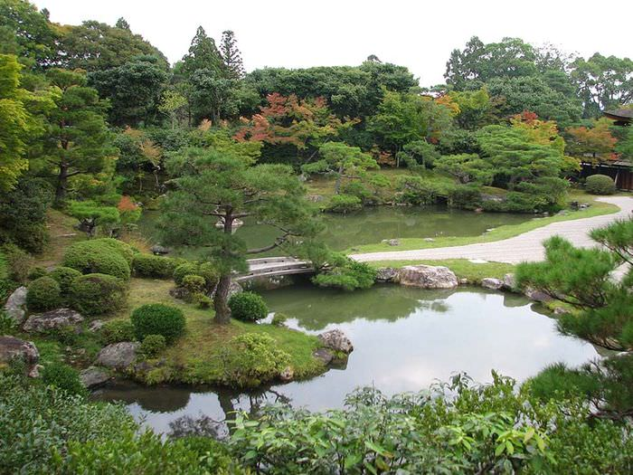 Водоем в саду пейзажного стиля